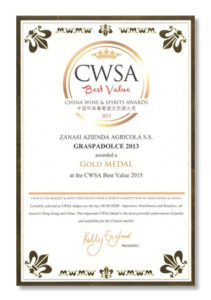 CWSA – China Wine & Spirits Awards 2015 – Gold Medal