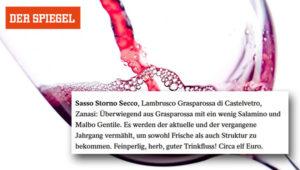 """Sassostorno on """"Der Spiegel"""" – Rotwein mit Blubb"""